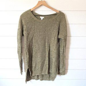 BP Green Marled Knit Long Sweater L